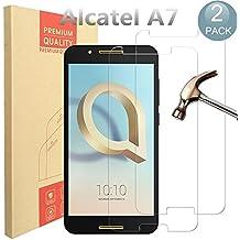 [2 Pack] Alcatel A7 Pellicola Protettiva, PULEN in Vetro Temperato Premium 9H protezione scratch Resistente [Anti-riflesso Ultra-Clear] [Protezione Antigraffi, Ultra-Clear] Tempered Glass