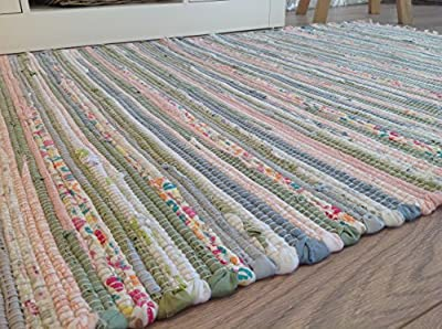 Pastel Rag Rug 90cm x 150cm Recycled Cotton Multi Colours (Second Nature Exclusive) - inexpensive UK light shop.