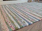 Second Nature Pastell Flickenteppich 120cm x 180cm Indischen Helles Multi Farben recycelte Baumwolle Exklusiv