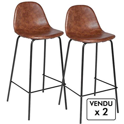 Conjunto de 2 sillas de bar - Estilo industrial - Color MARRON pardo