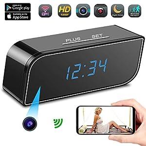 lentes espia: Camara Espia A-TION WiFi Despertador HD 1080P Cámara de Niñera P2P Inalámbrica C...