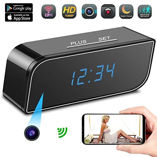 Camara Espia A-TION WiFi Despertador HD 1080P Cámara de Niñera P2P Inalámbrica Cámara de Seguridad Detección de Movimiento Grabador de Video Vigilancia 150°Ángulo de Visión Amplio