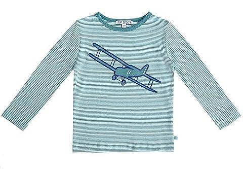 ENFANT TERRIBLE Jungen T-Shirt Langarm Ice Dark Cyan Flugzeug Stickerei Bio Gots - Größe: 110/116