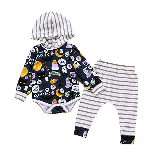 Neugeborene Kinder Baby Jungen Baby Mädchen Hoodie Halloween Outfits Strampler Brief Drucken Langarm mit Hosen Sets