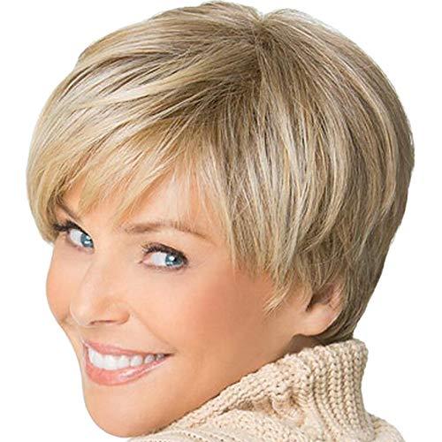 Perruque D'or Section Courte Cheveux Courts et Courts, Perruques Europe et États-Unis Mode Femmes Section d'or Cheveux droits Cheveux haute température Perruqu