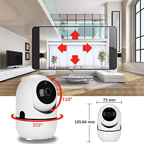 1080p HD IP-Kamera mit Motion Tracker / 2-Wege-Audio/Nachtsicht/APP-Fernbedienung, 2,4 GHz WiFi Indoor Home Security Dome-Kamera für Baby-Monitor/Holunder/Hund/Kindermädchen