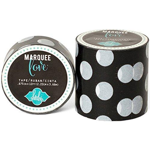 Heidi Swapp Marquee Tape Washi Cinta Adhesiva Lunares Negros, Papel de Arroz, 5x4x4 cm