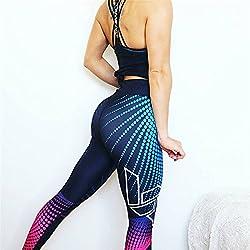 Weant Pantalones Yoga Mujeres Mallas Deportivas Mujer Punto de ola Mujer Deporte Pantalones Fitness Mujer Gym Yoga Pantalon EláSticos Para Running Pilates Fitness Impresión 3D (Multicolor, L)