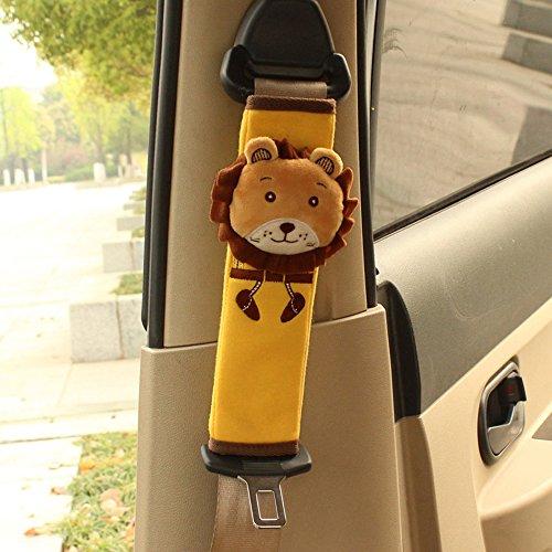 Preisvergleich Produktbild RAILONCH Cartoon-Design Auto Sicherheits Sicherheitsgurt Schulterpolster Gurtpolster Schulterkissen Autositze Gurtpolster (2 Stück, Löwe)