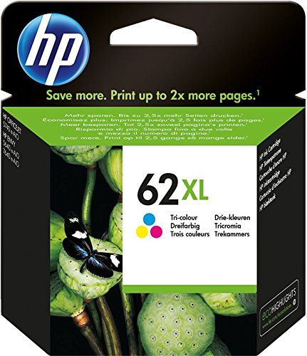 HP 62XL C2P07AE Cartuccia Originale per Stampanti HP a Getto d'inchiostro Compatibile con Stampanti HP Envy All in One 5540, 5642, 5644, 5742, 7640, l'Officejet 5740 e l'Officejet Serie 200, Tricomia