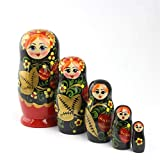 Heka Naturals Matryoshka Russische Puppen Klassische Babuschka Hand Made in Russland 5 Stück 18 cm Holz Geschenk Spielzeug (Hohloma Vyatka)