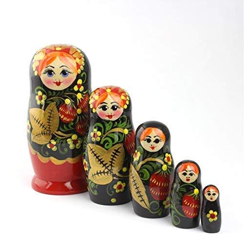 Heka Naturals Matryoshka muñecas Rusas de anidación Hechas a Mano en Rusia 5 Piezas 18 cm Juguete de Regalo de Madera (5 muñecas de 18 cm (Hohloma Vyatka))