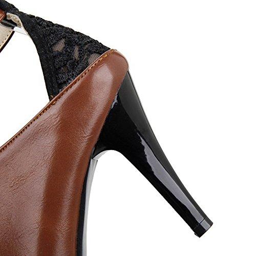 AgooLar Femme Couleur Unie Matière Souple à Talon Haut Boucle Pointu Chaussures Légeres Brun