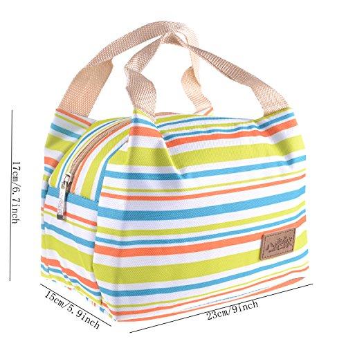 Pieghevole isolato termico lunch box Cooler bag Cooler impermeabile riutilizzabile, con tracolla, per campeggio esterno scuola lavoro ufficio e viaggi m M - Rose red S-Green stripe