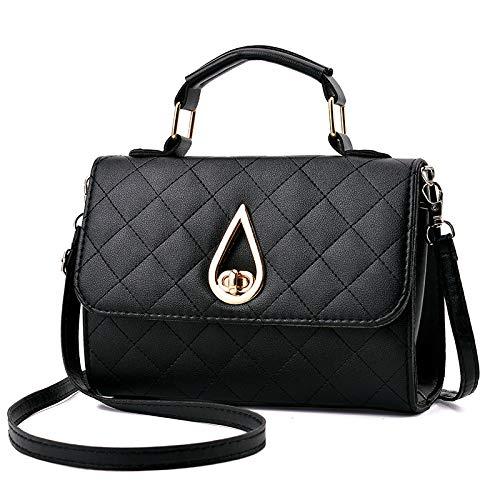 Lwlroyti Frauen Handtasche und Geldbörse,Lingge Chain Bag Fashion Handtasche Damen Umhängetasche, schwarz,PU - Kette Schultertasche