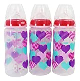 Nuk - Baby Wide Neck Bottles Silicone Nipple Medium Flow Hearts 0 Months+ - 3