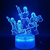 Iluminación Infantil Nocturna,3D Luz De La Noche Led Para Niños Dormitorio Decoración Del Hogar Luz De Noche Regalo De Cumpleaños Lámpara De La Noche Fortnite 16 Color