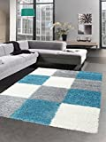 Carpetia Shaggy Teppich Hochflor Langflor Bettvorleger Wohnzimmer Teppich Läufer Karo türkis grau Creme Größe 140x200 cm
