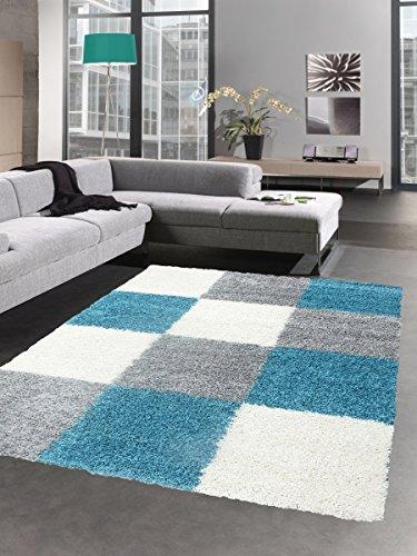 Shaggy Carpet Tapis à Poils Profond Pile Longue Tapis de Salon carpette Karo crème Gris Turquoise Größe 60x110 cm