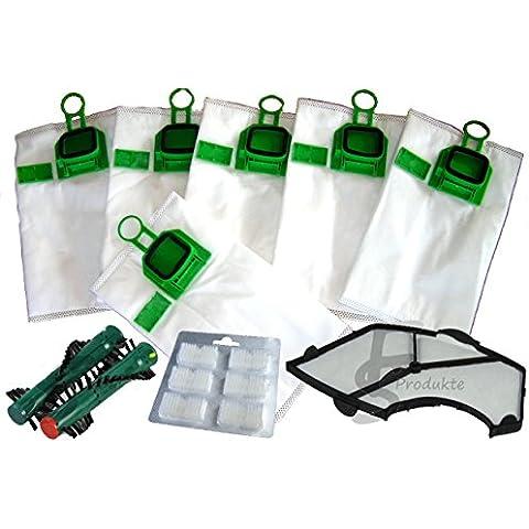 FSProdukte - 12 bolsas de microfieltro para aspiradora Vorwerk Kobold 140/150 con soporte de fragancia, filtro de protección del motor, cepillo EB 360/370 y 12 bloques de fragancia