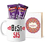 Tied Ribbons Gifts For Rakhi For Sister, Rakhi Sister Gifts Printed Coffee Mug With Dairy Milk Chocolates And...