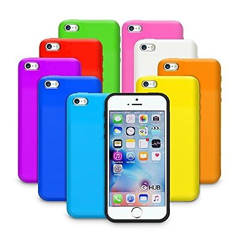 G-HUB® - 10-in-1 Silicone Cases für APPLE iPHONE 5 (2012) & iPHONE 5S (2013) & iPHONE SE (2016) SmartPhone Mobile Handy Shutzhüllen - 10 VERSCHIEDENE FARBEN der Schutzhülle in diesem Handytasche Zubehörpaket