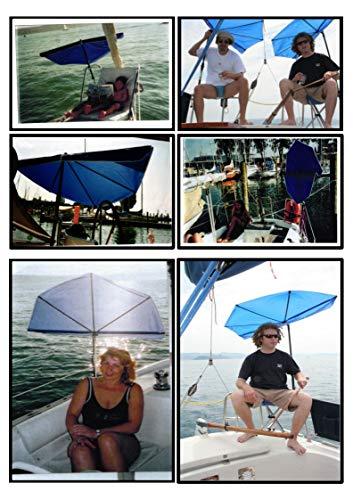 BOOTSSCHIRM Marineblau – Holly Fächerschirm 140 x 70 cm mit 360 ° drehbarer Edelstahlhalterung. Bezug Polyester – hochwertiger UV -Sonnenschutz 40 + Farbe: Marine BLAU –