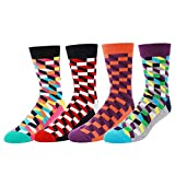 WYTartist Coloured Socks for Men - Novelty Fun Cool Colorful Cotton Casual High Socks (Square)