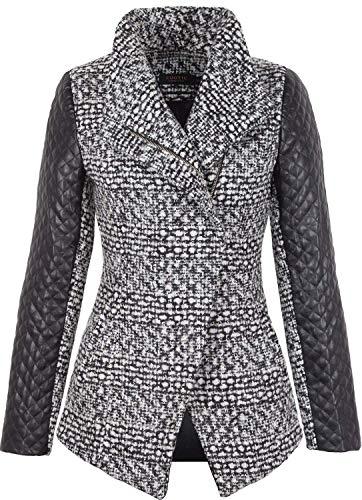 Grimada A20 Damen Wolljacke Blazer Jacket Cootic mit Lederärmel (40, Boucle)