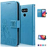 achoTREE Coque LG G6, Chanceuse Fleur Housse pour LG G6 Etui, PU &TPU + [3 × Doux Nano-Technologie Film Protecteur], Bleu 5.7 Pouces
