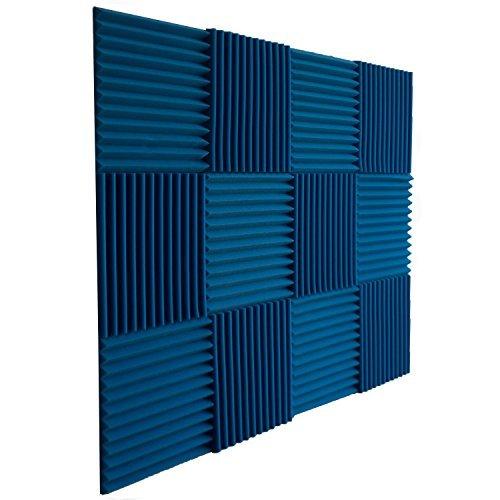 "Foamily Ice Blue Acoustic Panels Studio Foam Wedges 1"" X 12"" X 12"" (Pack of 12)"