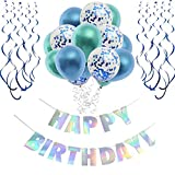 O CAT Geburtstagsdeko Junge und Mädchen Laser Happy Birthday Girlande Luftballon Blau Spiralen Geburtstag deko Set