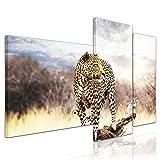 Bilderdepot24 Kunstdruck - Leopard - Bild auf Leinwand - 130x80 cm 3 teilig - Leinwandbilder - Bilder als Leinwanddruck - Wandbild Tierwelten - Wildtiere - afrikanische Wildkatze auf der Pirsch
