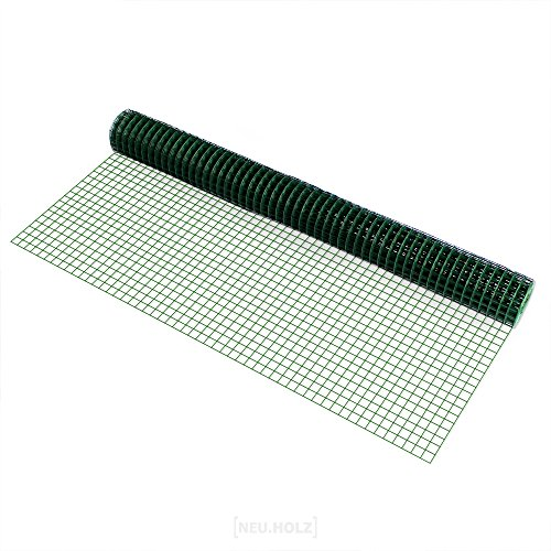 [pro.tec] Drahtgitter (4-Eck)(1m x 5m)(grün) Schweißgitter Volierendraht Maschendraht Zaun