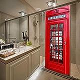 Carta Da Parati Adesivo Per Porte 3D Pvc 3D London Red Cabina Telefonica Adesivi Murali Autoadesivi Soggiorno Decorazioni Per Porte 3D Murale-77X200Cm
