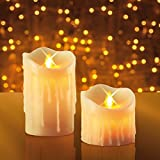 JML Miracle Flame Candles - Real Wax Flameless LED Flickering Light, Set of 2