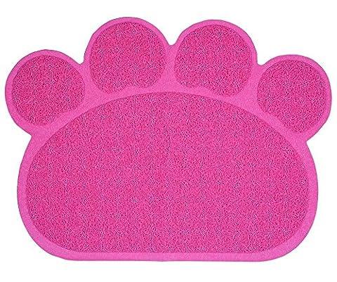 Besthc PVC Pet Dog Cat Puppy Kitten Dish Bowl Food Water Placemat Mat Paw Shape (Rose)