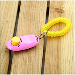 Hund Pet Click Clicker Training Gehorsam Agility Trainer Hilfe Handschlaufe Groß für Training Gehorsam / HTM / Agility Pet Supplies - Pink
