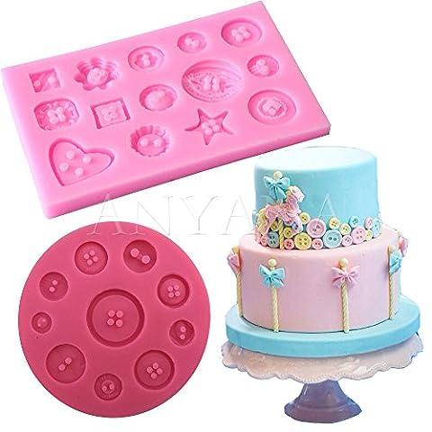 Anyana Coque en silicone Fondant Moule à Cake Décoration de pâte à sucre Bouton Motif Moule
