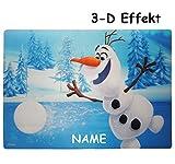 3-D Effekt Unterlage -  Disney Frozen / die Eiskönigin - Olaf  - 42 cm * 29 cm incl. Namen - Tischunterlage / Malunterlage / Platzdeckchen / Knetunterlage /..