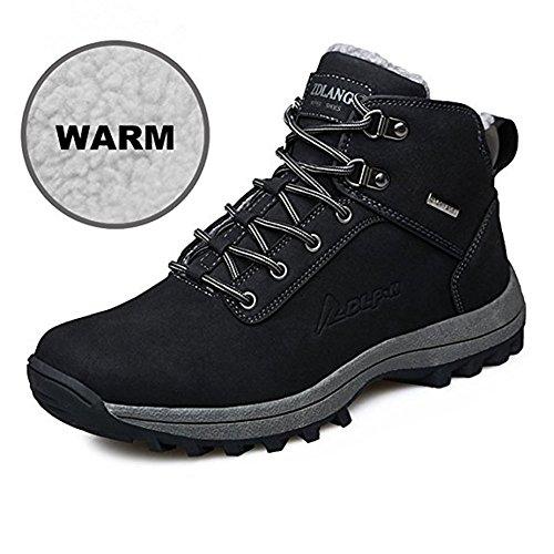 happygo! Herren Winterschuhe Wasserdicht Warm Gefütterte Trekking Wanderschuhe Outdoor Sneaker Schneestiefel Schwarz Braun 39-46 Schwarz