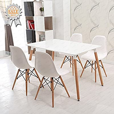 Schindora® Charles & Ray Eames Inspired Eiffel DSW Retro Design Wood Style Chairs and Table Set for Office Lounge Dining Kitchen - White produced by Schindora - quick delivery from UK.