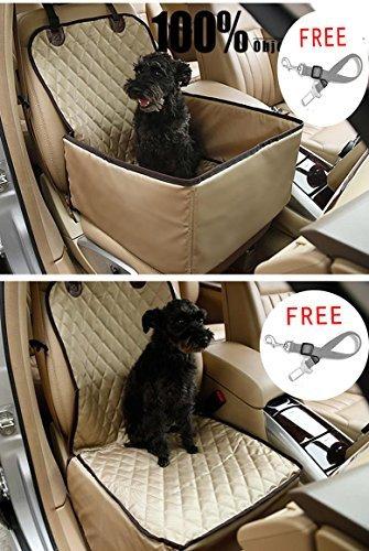 C&D Pet Vordersitzbezug Pet Booster Sitz, Deluxe 2in 1Hund Sitzbezüge für Autos Wasserdicht Hund Front Seat Cover Pet Eimer Sitz mit Sicherheitsgurt, 22.8in*18in*18in, Beige (Eimer Hunde Sitzbezüge Für)