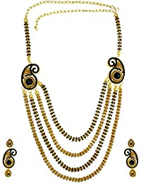 Anuradha Art Golden-Black Colour Classy Very Trendy Traditional Long Necklace Set For Women/Girls
