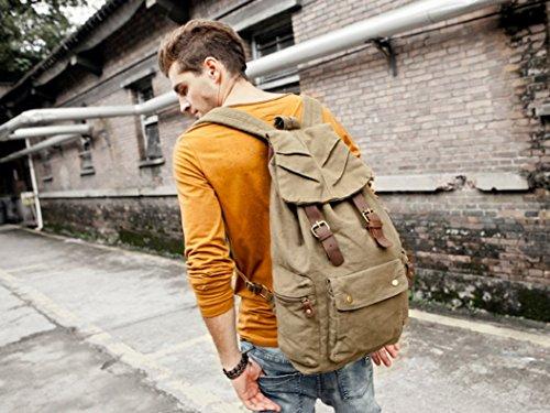 Neu Herren Damen Vintage Rucksack für Outdoor Sports Schultertasche Rucksack Rucksacktasche khaki (grün)
