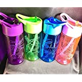 PERSONALISED, ENGRAVED SPORTS WATER DRINKS BOTTLE BLUE, PINK, PURPLE, GREEN ANY DESIGN ANIMAL CLASS UNICORN BUTTERFLY CAR DINOSAUR JUICE STRAW SCHOOL NAME NURSERY CHILDRENS