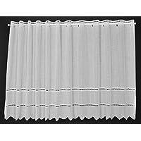 Cortina de media altura broderie altura 57 cm   Ancho de la cortina seleccionable por la cantidad comprada en pasos de 21 cm   Color: blanco   Cortinas cocina