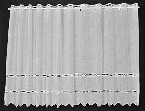 Scheibengardine Batist mit Lochstickerei 57 cm hoch   Breite der Gardine durch Stückzahl in 21 cm Schritten wählbar!