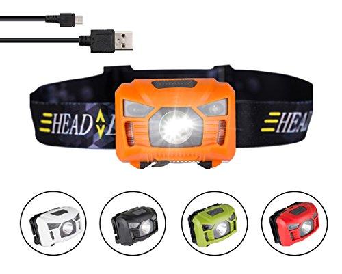 three trees USB Rechargeable Lampe Frontale LED, très Lumineuse, légère et Confortable, Facile d'utilisation, Parfaite pour la Course, Le Camping, la Lecture, Le Bricolage et Bien Plus Encore (orange)