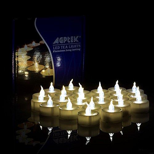 AGPtek 60x Velas LED sin Fuego Blanca Cálida Luz de Té Velas Electrónicas para Bodas Fiestas